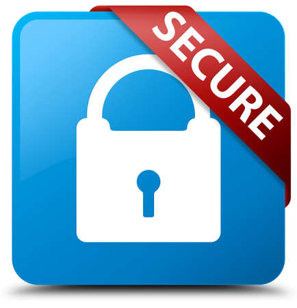 Secure (padlock icon) cyan blue square button