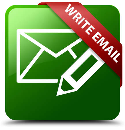 Write email green square button Stock Photo