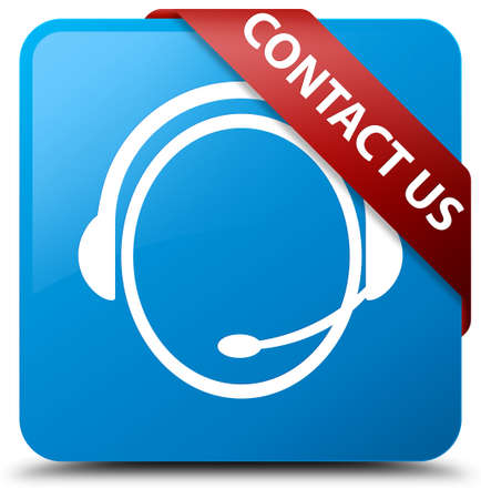 cyan business: Contact us (customer care icon) cyan blue square button