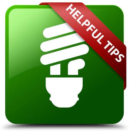 Helpful tips (bulb icon) green square button Stock Photo