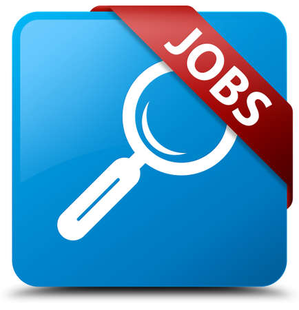 Jobs cyan blue square button Stock Photo
