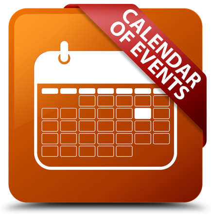 event planner: Calendar of events brown square button