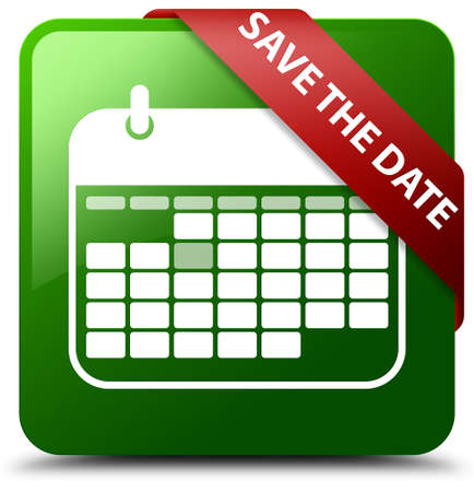 Save the date green square button