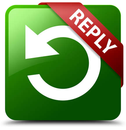 reply: Reply (rotate arrow icon) green square button Stock Photo