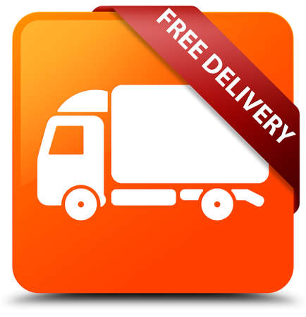 Free delivery orange square button Stock Photo