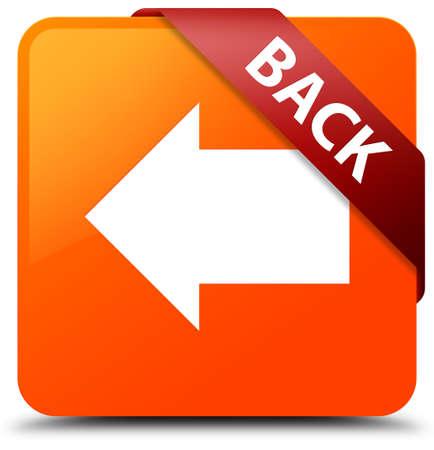 Back orange square button Stock Photo