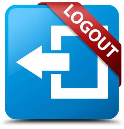 shut out: Logout cyan blue square button