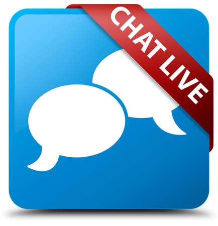 Chat live cyan blue square button