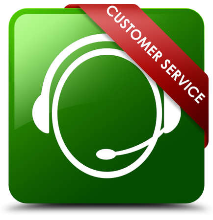 Customer service (customer care icon) green square button Stock Photo