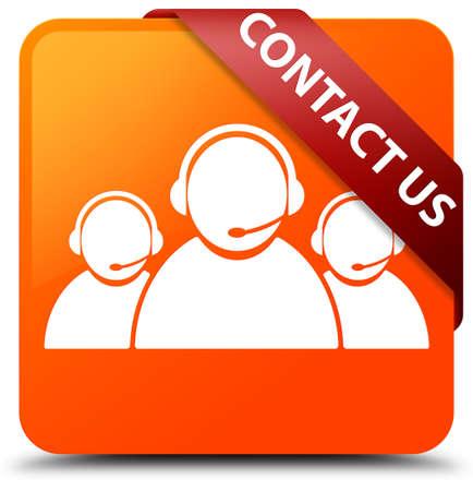 Contact us (customer care team icon) orange square button