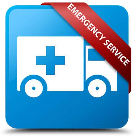 Emergency service cyan blue square button
