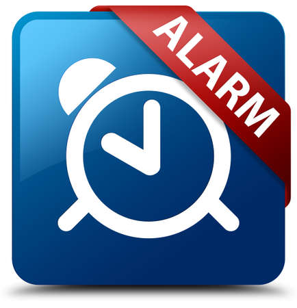 blue button: Alarm blue square button Stock Photo
