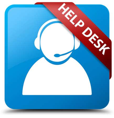 Help desk (customer care icon) cyan blue square button