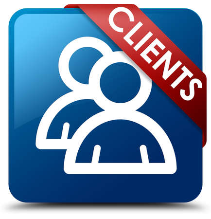 Clients (group icon) blue square button
