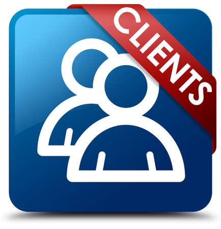 job satisfaction: Clients (group icon) blue square button