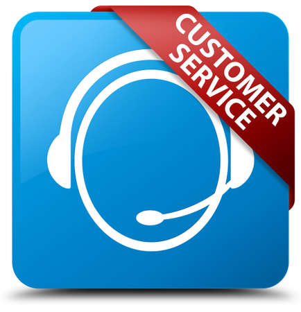 cyan business: Customer service (customer care icon) cyan blue square button Stock Photo