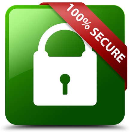 100% secure green square button