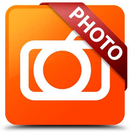 Photo (camera icon) orange square button Stock Photo
