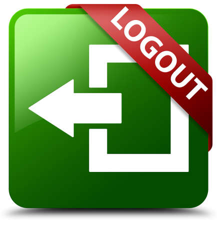 Logout green square button Stock Photo