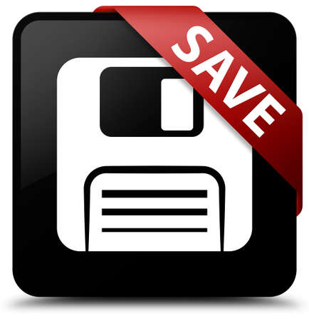 website buttons: Save (floppy disk icon) black square button Stock Photo