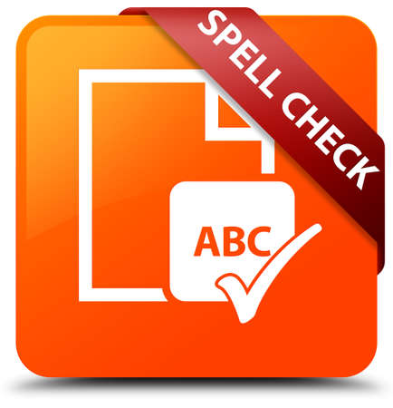 Spell check document orange square button Stock Photo