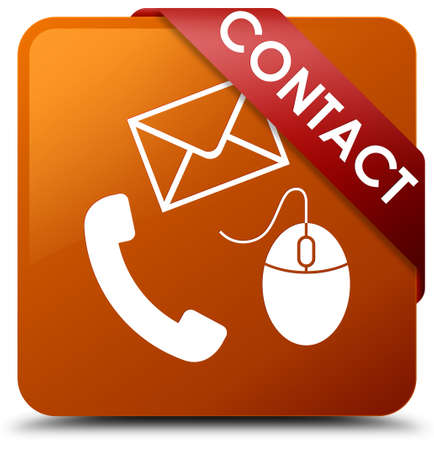 Contact (phone, email and mouse icon) brown square button