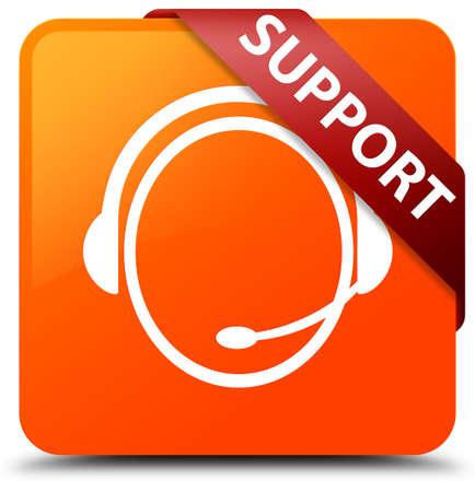 Support (customer care icon) orange square button