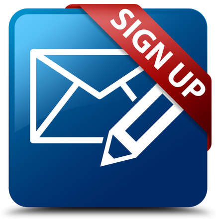 blue button: Sign up (edit mail icon) blue square button
