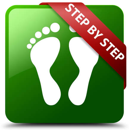 Step by step (footprint icon) green square button