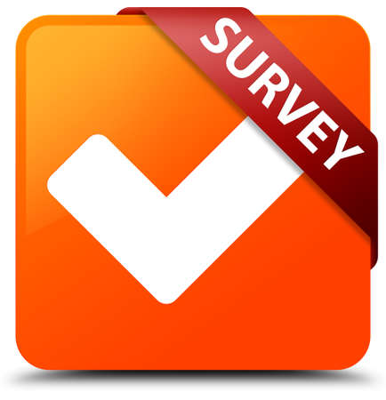 validate: Survey (validate icon) orange square button Stock Photo