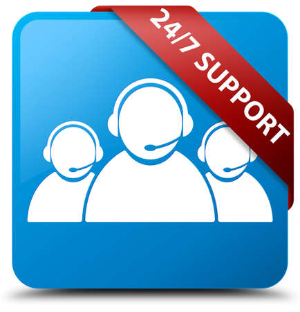 cyan business: 247 Support (customer care team icon) cyan blue square button