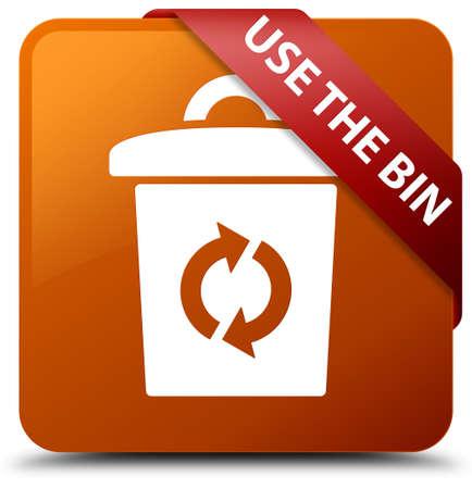 Use the bin brown square button Stock Photo