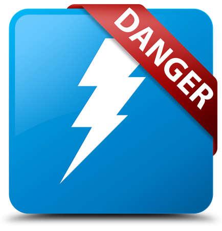 dangerous: Danger (electricity icon) cyan blue square button