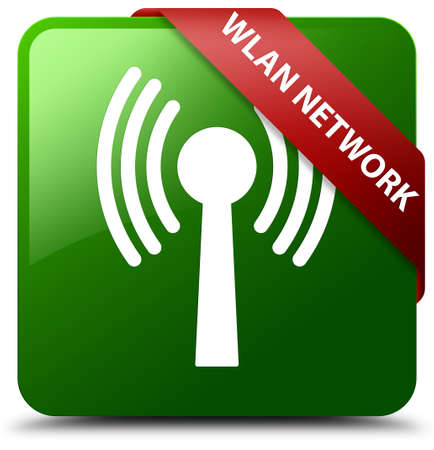 Wlan network green square button Stock Photo