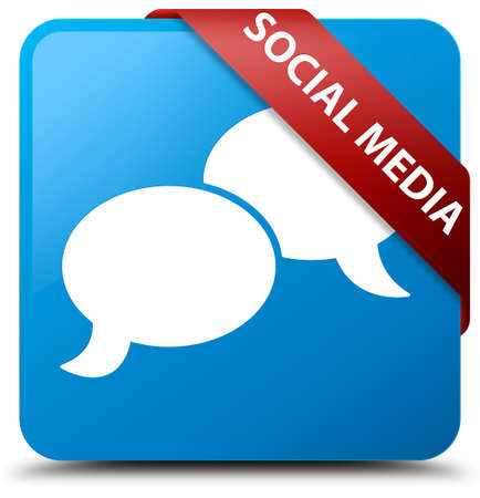 blue button: Social media (chat bubble icon) cyan blue square button