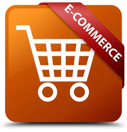 E-commerce brown square button Stock Photo