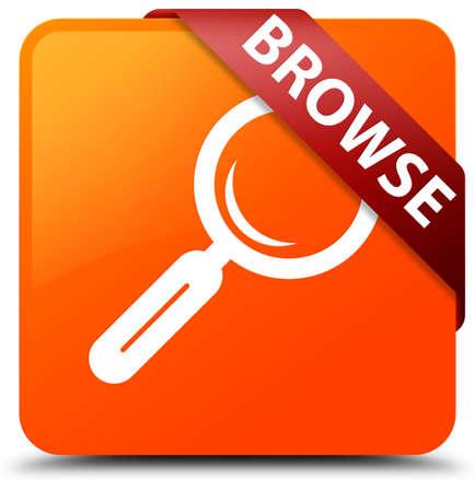 Browse orange square button Stock Photo