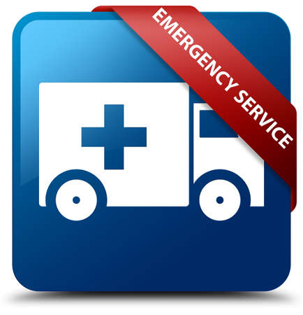 Emergency service blue square button