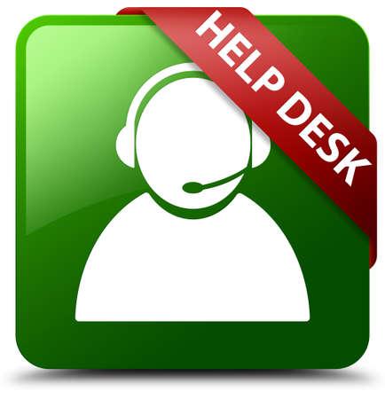 Help desk (customer care icon) green square button