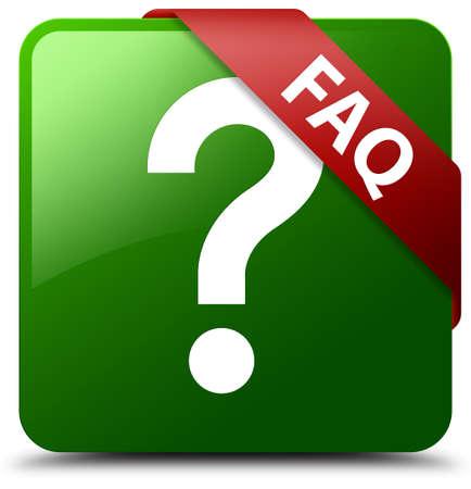 Faq (question icon) green square button Stock Photo