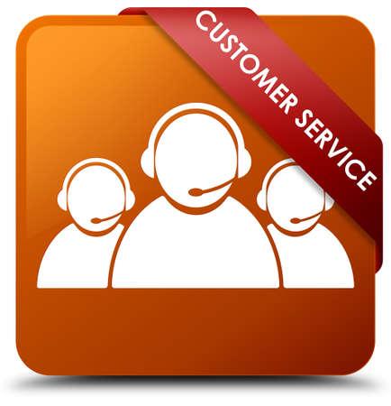 Customer service (team icon) brown square button