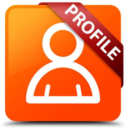 Profile (member icon) orange square button Stock Photo