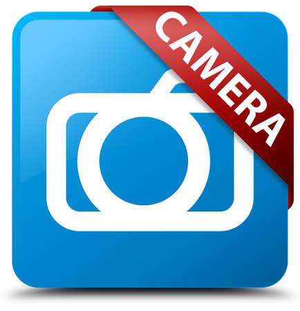 Camera cyan blue square button Stock Photo