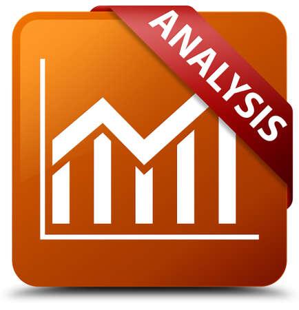 Analysis (statistics icon) brown square button