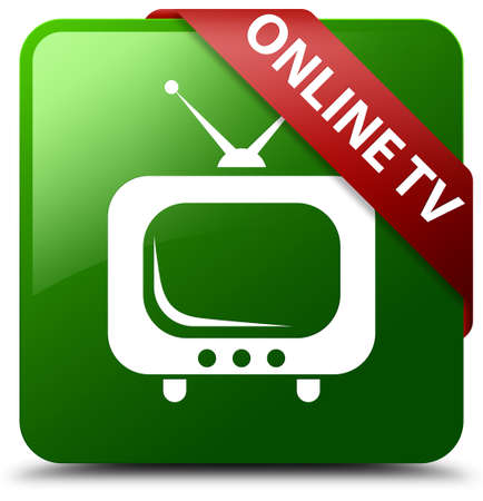 Online tv green square button Stock Photo