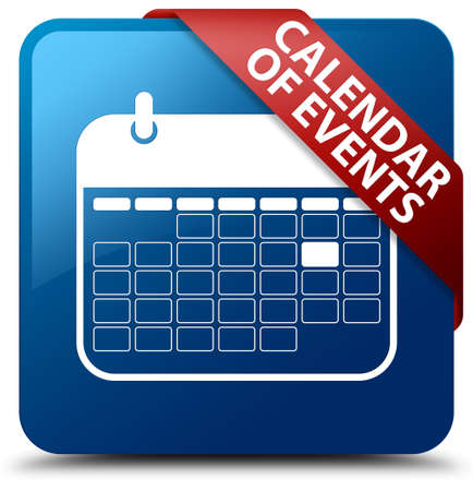 event planner: Calendar of events blue square button