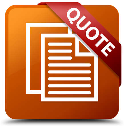 Quote (document pages icon) brown square button Stock Photo