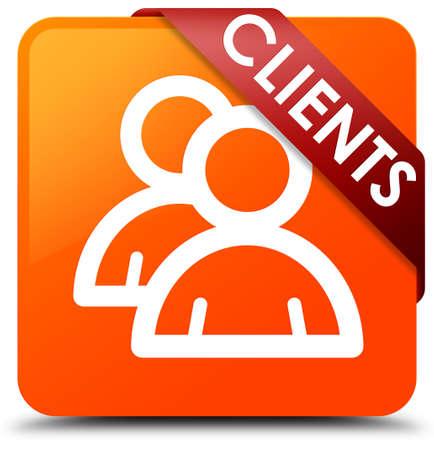 job satisfaction: Clients (group icon) orange square button