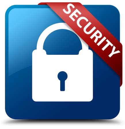 blue button: Security (padlock icon) blue square button Stock Photo