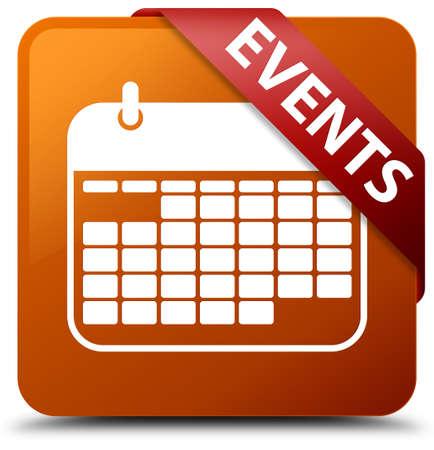Events (calendar icon) brown square button Stock Photo